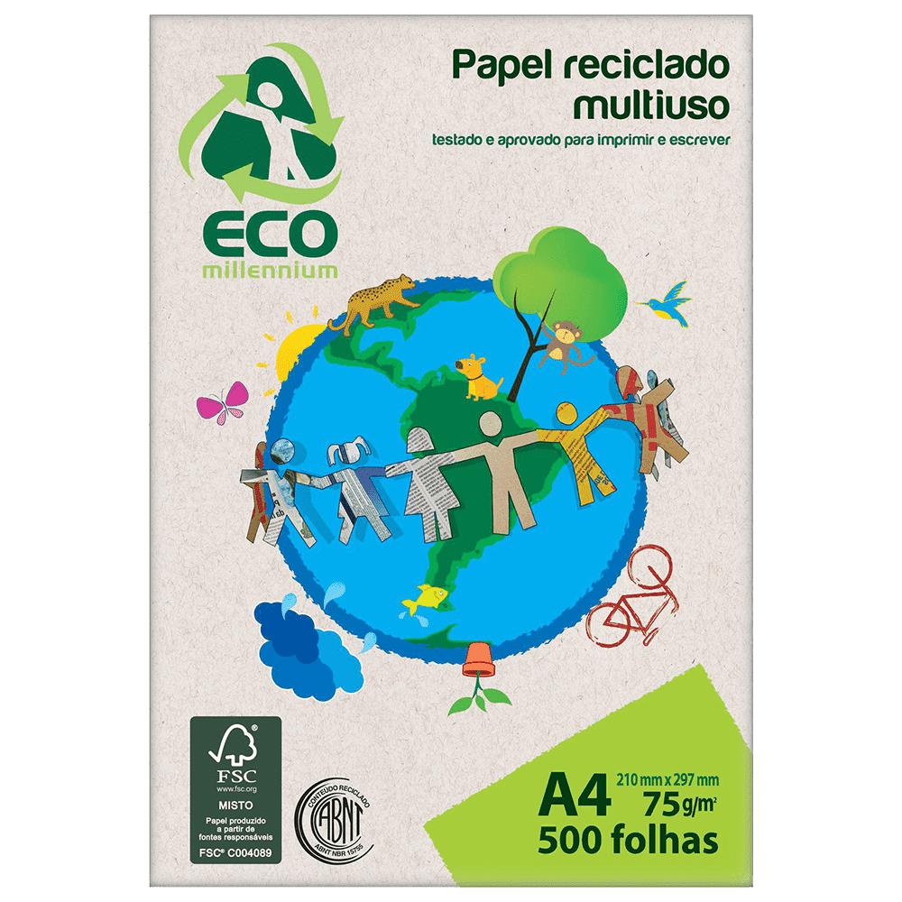 Papel Reciclado Multiuso A4 75g 500 folhas Eco Millennium Jandaia