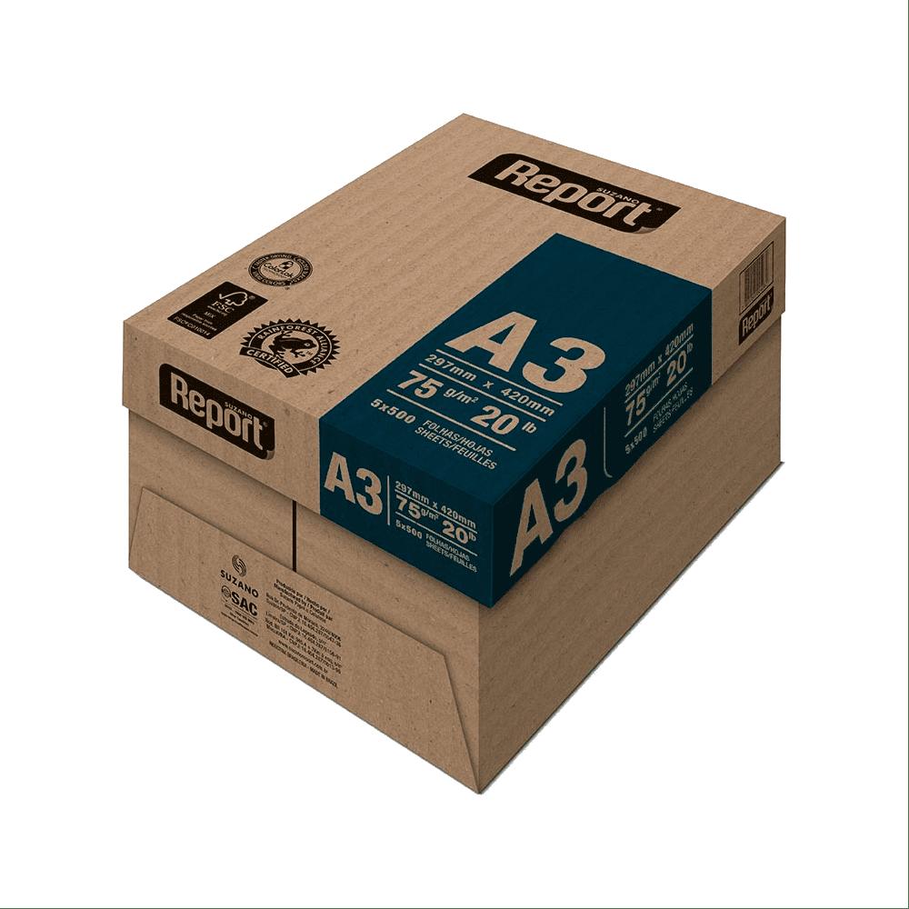 Papel Sulfite A3 Branco 75g Caixa 2500 folhas Premium Report