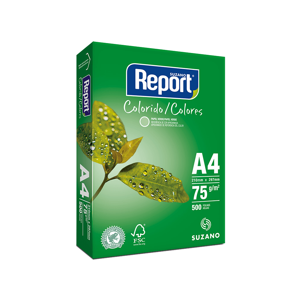 Papel Sulfite A4 Verde 75g 500 Folhas Report