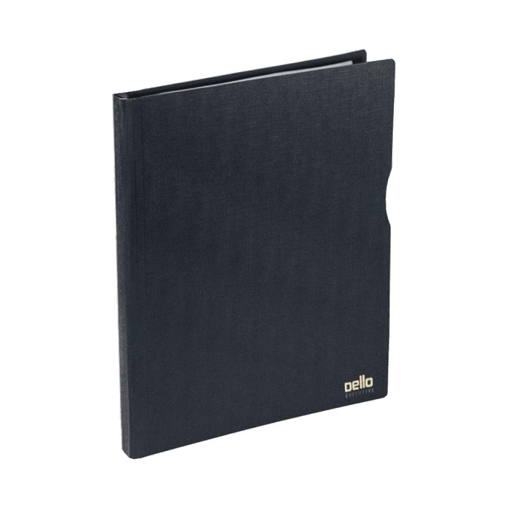 Pasta Catálogo A4 Preto Executive com 100 Plásticos Dello