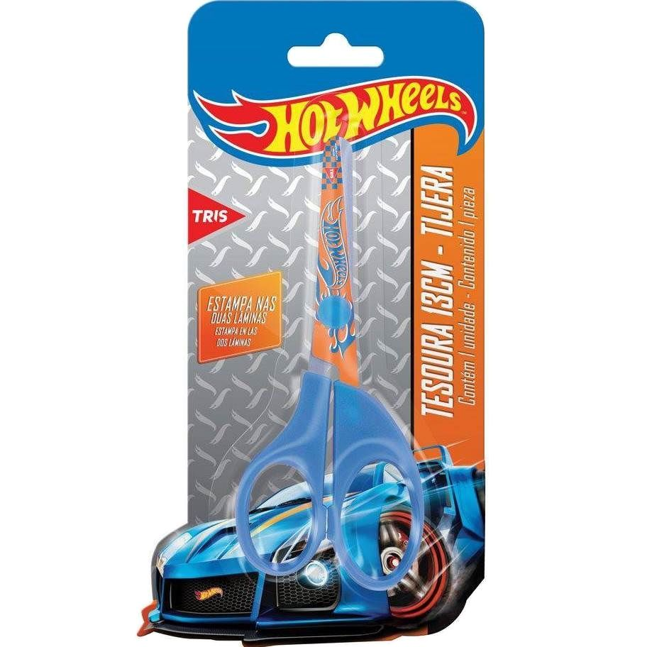 Tesoura 13cm Escolar Assimétrica Hot Wheels Tris