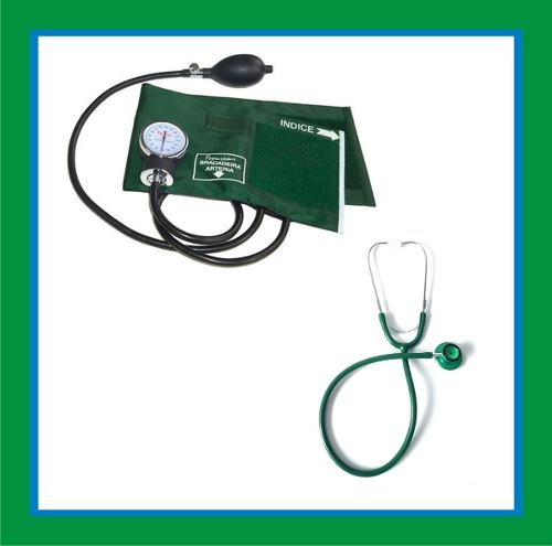 Kit Esfigmomanômetro + Estetoscopio Duplo Cor Verde