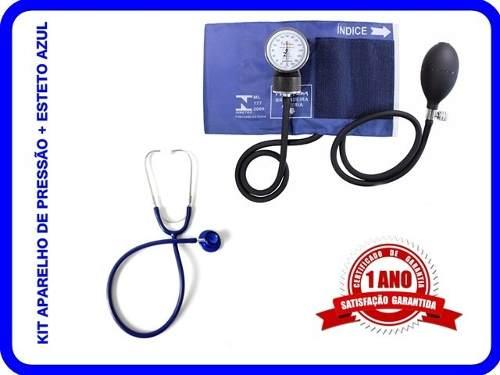 Kit Esfigmomanômetro + Estetoscopio Duplo Azul