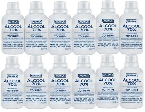 ALCOOL 70º INPM LIQUIDO FRASCO 100 ML  PACOTE COM 12 UNIDADES