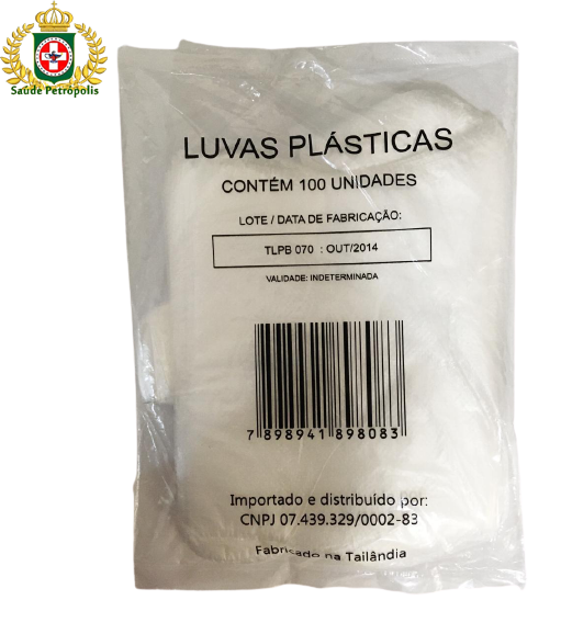 LUVA PLASTICA DESCARTAVEL TRANSPARENTE