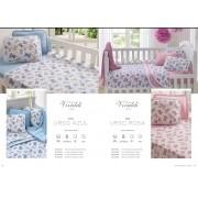 Kit Baby 3 peças para berço padrão americano - 100% em malha de algodão - Ursinho Azul Ursinho Rosa