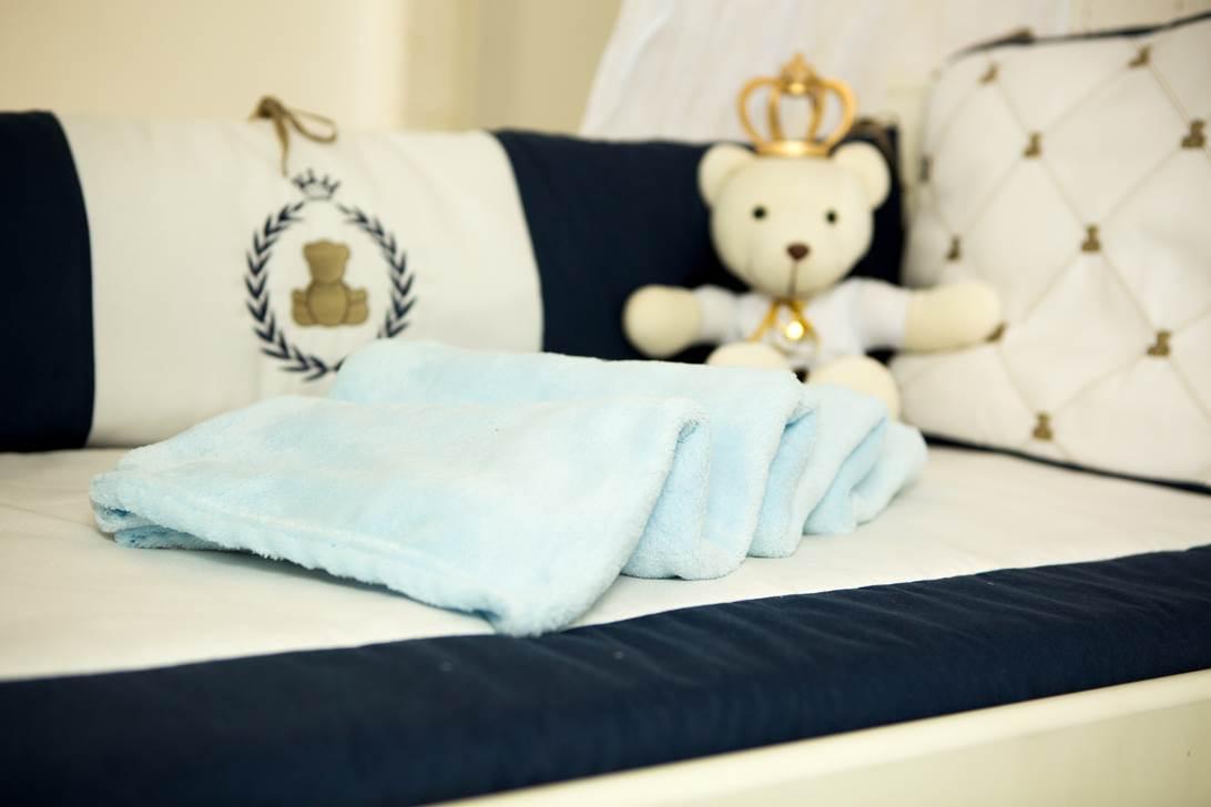 Cobertor Microfibra Bebê Liso Azul