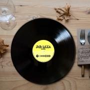 Jogo Americano Personalizado Redondo - Disco de Vinil com QR code spotify
