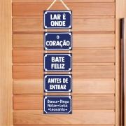 Placa de porta - placa de rua personalizada criativa com nomes - Lar é onde o coração bate feliz antes de entrar