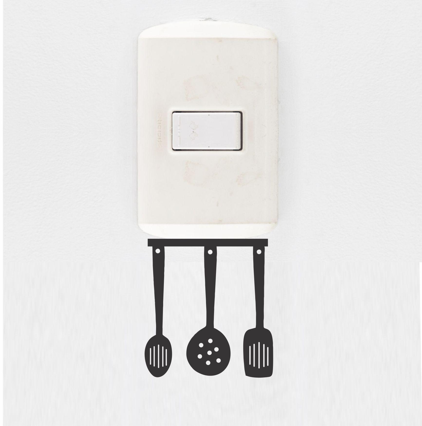 Adesivo de Interruptor e Tomada - Talheres de Cozinha