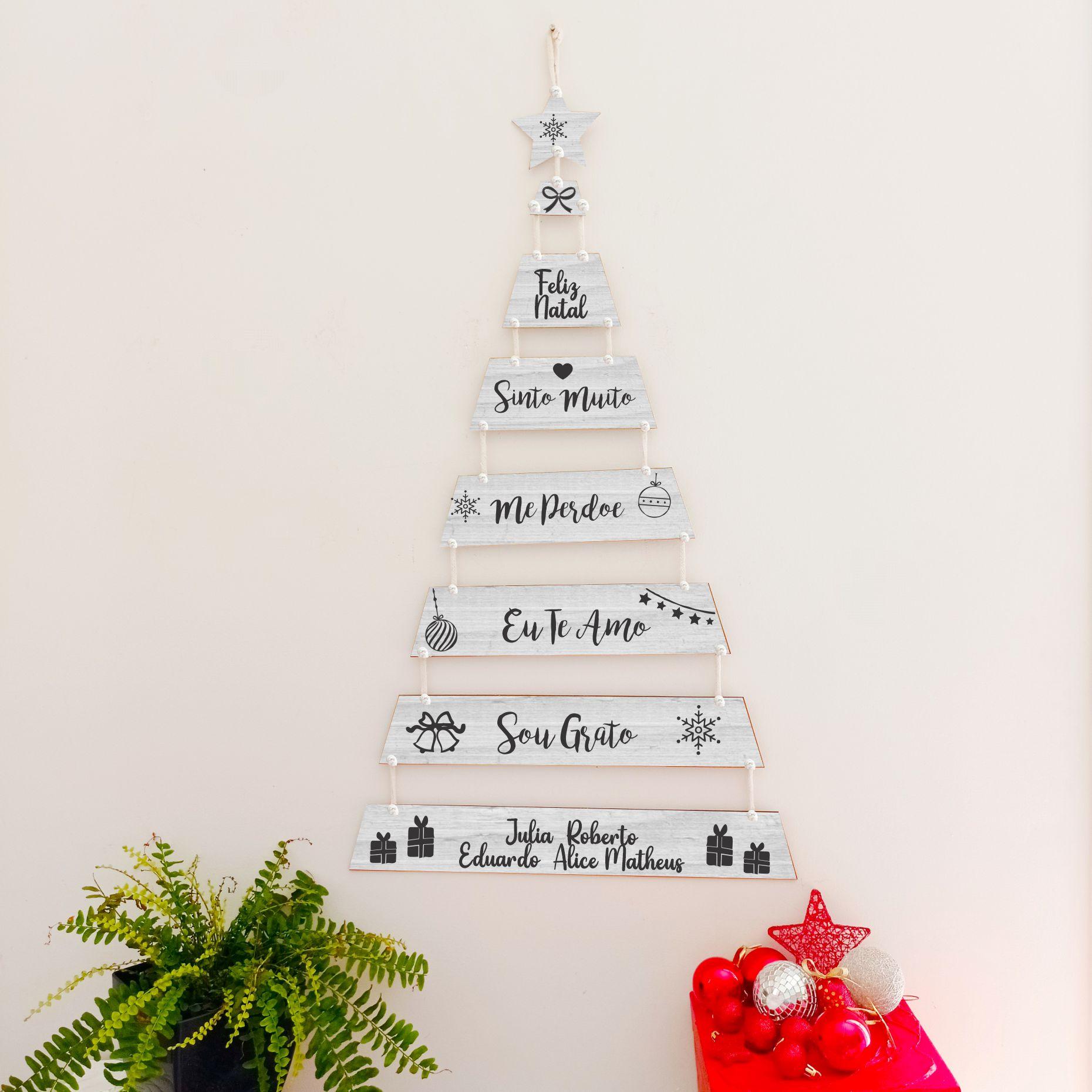 Árvore de NATAL Personalizada De Plaquinhas - Sou  Grato