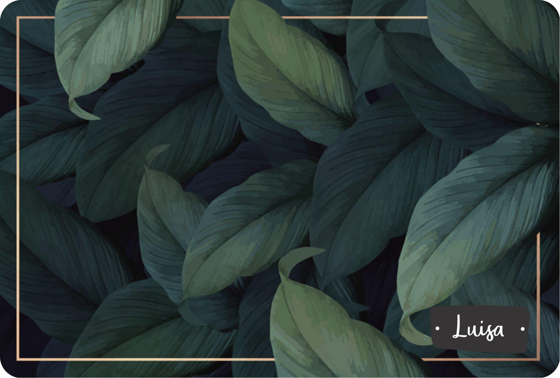 Jogo Americano Personalizado - Folhas verdes bordas