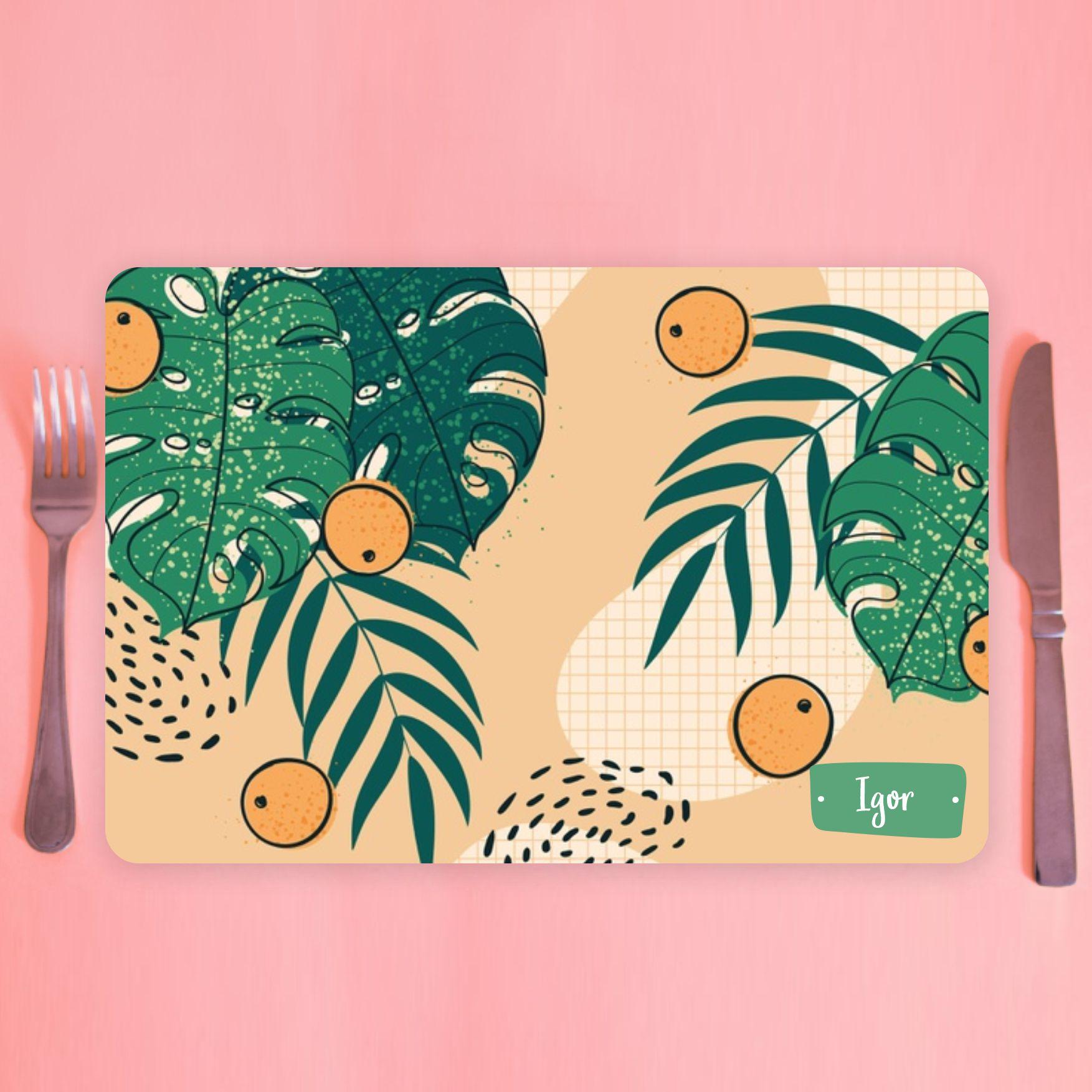 Jogo Americano Personalizado -ilustração orgânica laranja