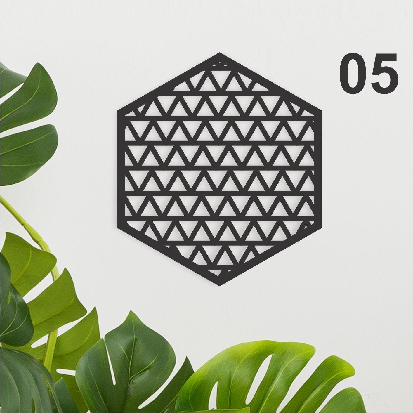 Kit de 04 Quadros Decorativos Hexagonais em Recorte - estampas diversas