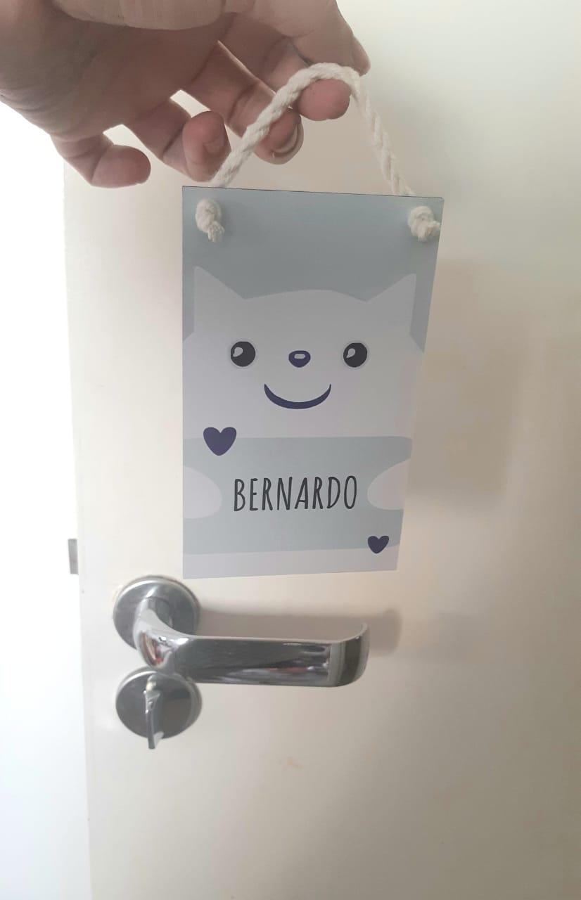 Mini Placa de Madeira Personalizada - Abraço de Gatinho