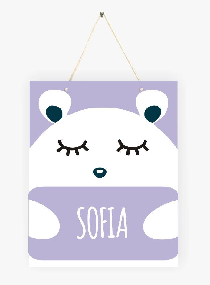 Mini Placa de Madeira Personalizada - Abraço de Ursinho