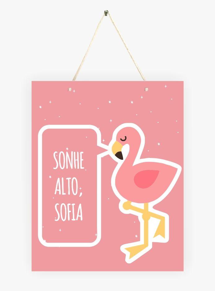 Mini Placa de Madeira Personalizada - Flamingo