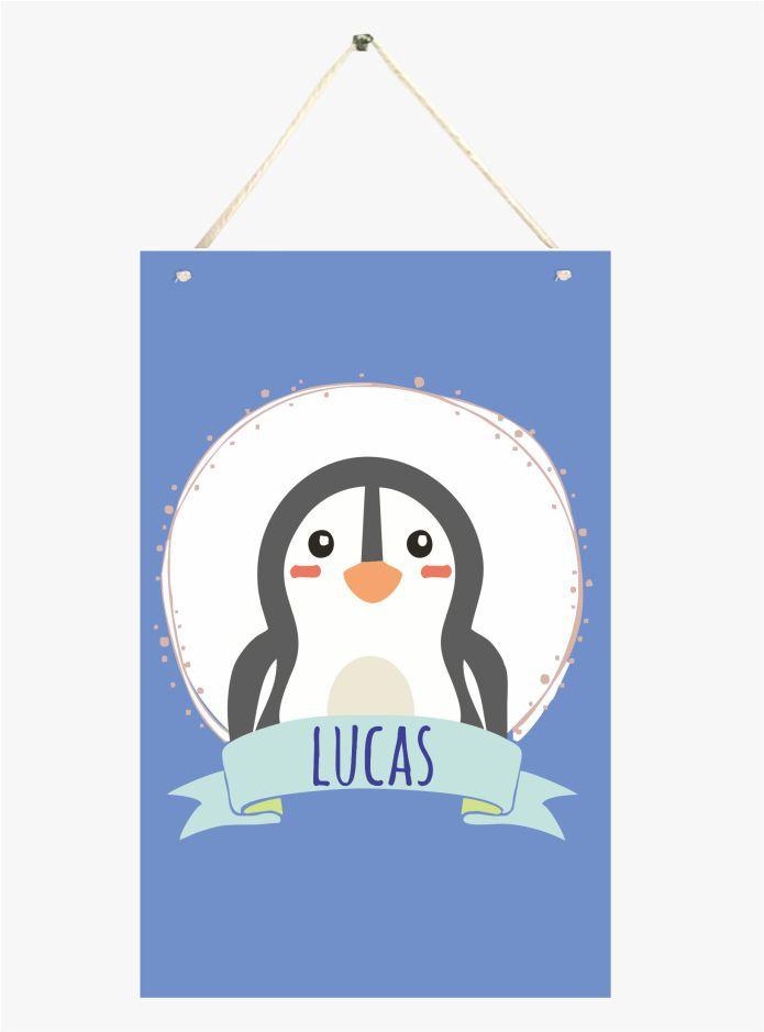 Mini Placa de Madeira Personalizada - Pinguim Baby
