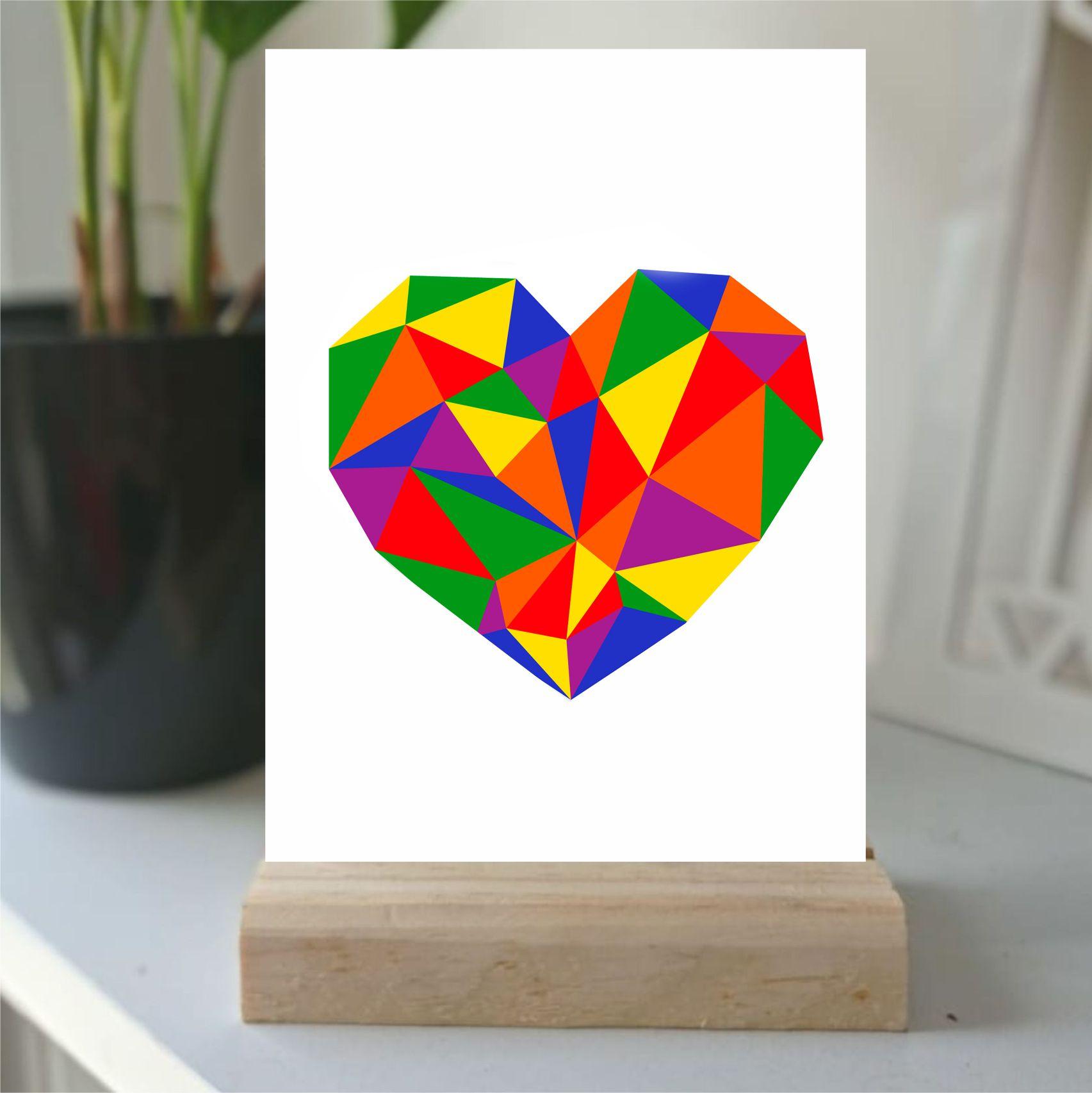 Plaquinha de Mesa -  coração colorido geométrico