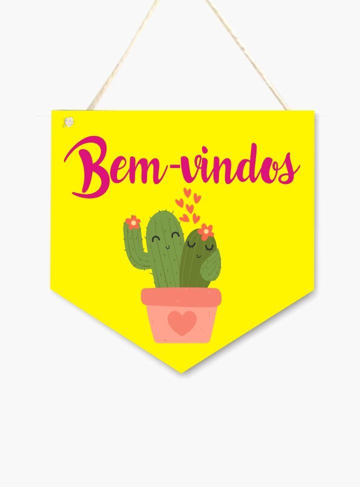 Plaquinha Flamula de MDF BEM-VINDOS Cactos