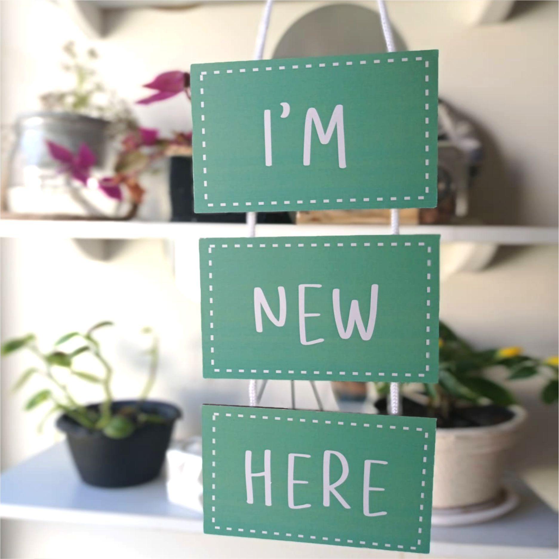 Plaquinhas Com Frase - I am new here - placa de porta- recém nascido