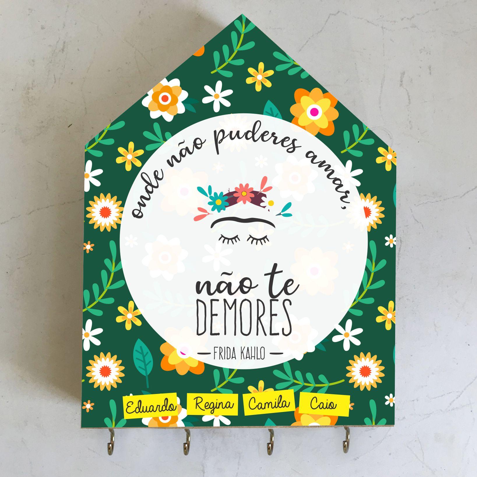 Porta-Chaves Personalizado Frida Kahlo - Não te Demores