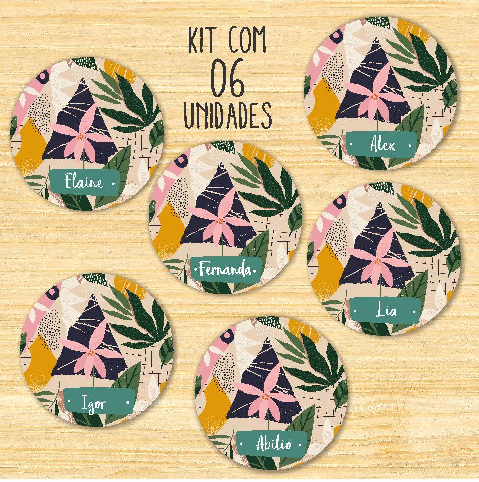 Porta-Copos Flores- KIT COM 06 unidades