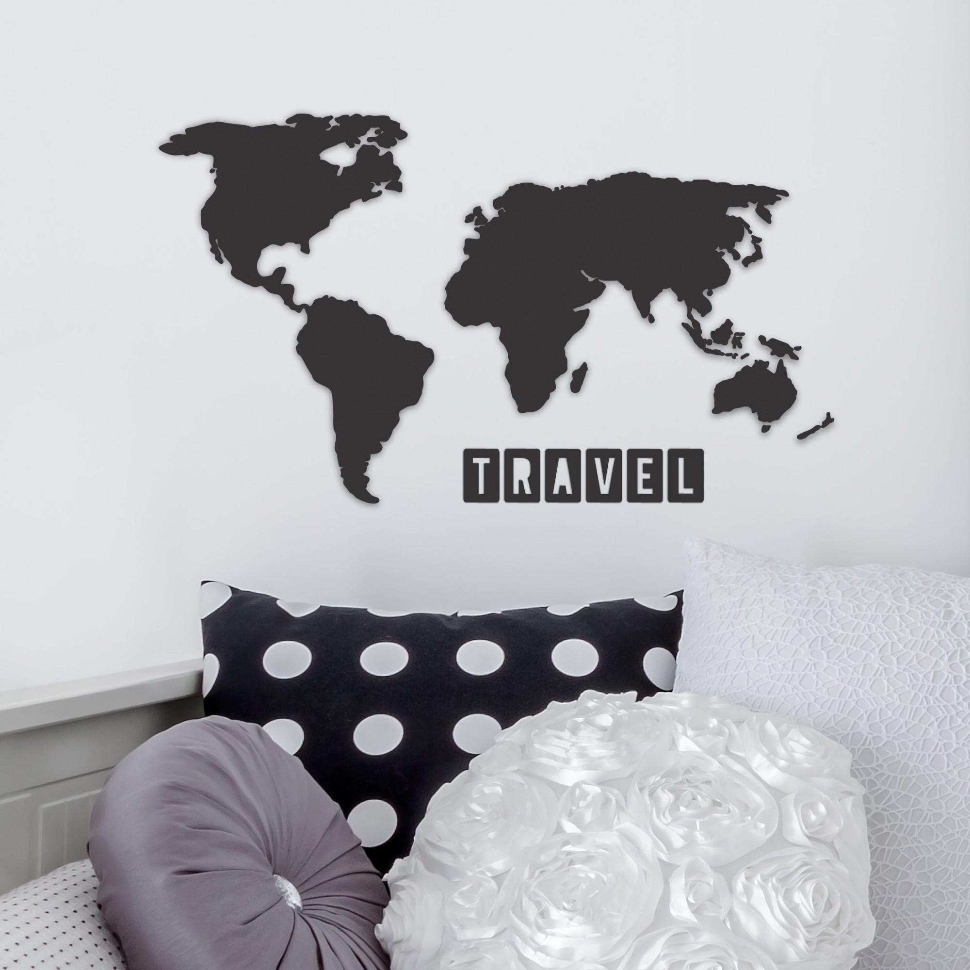 Quadro Decorativo em Recorte - mapa mundo travel