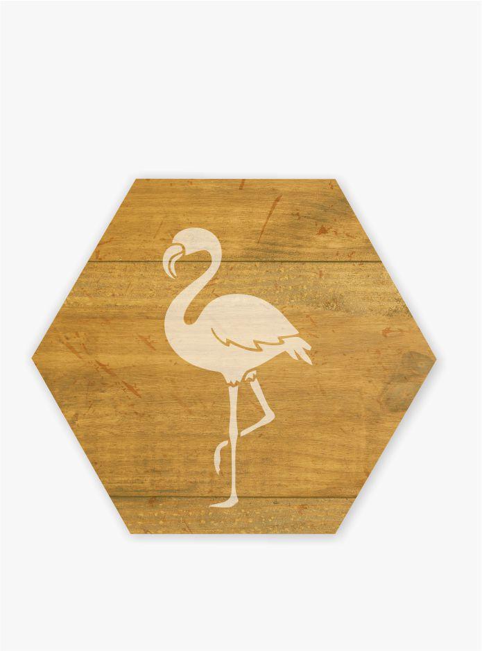 Quadro Estampa Madeira_Flamingo