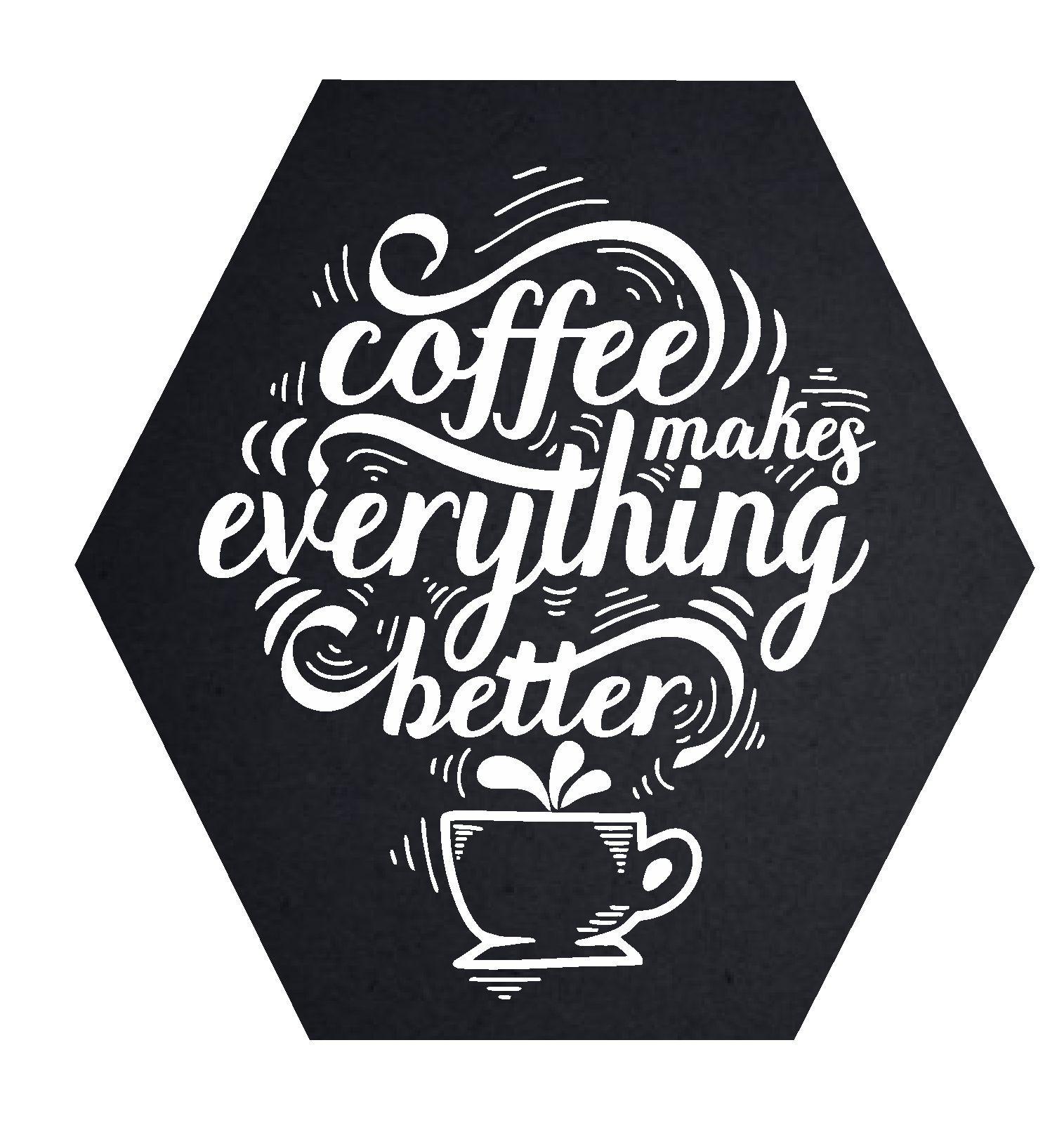 Quadro Hexagonal Cantinho do Café - Café Torna tudo melhor