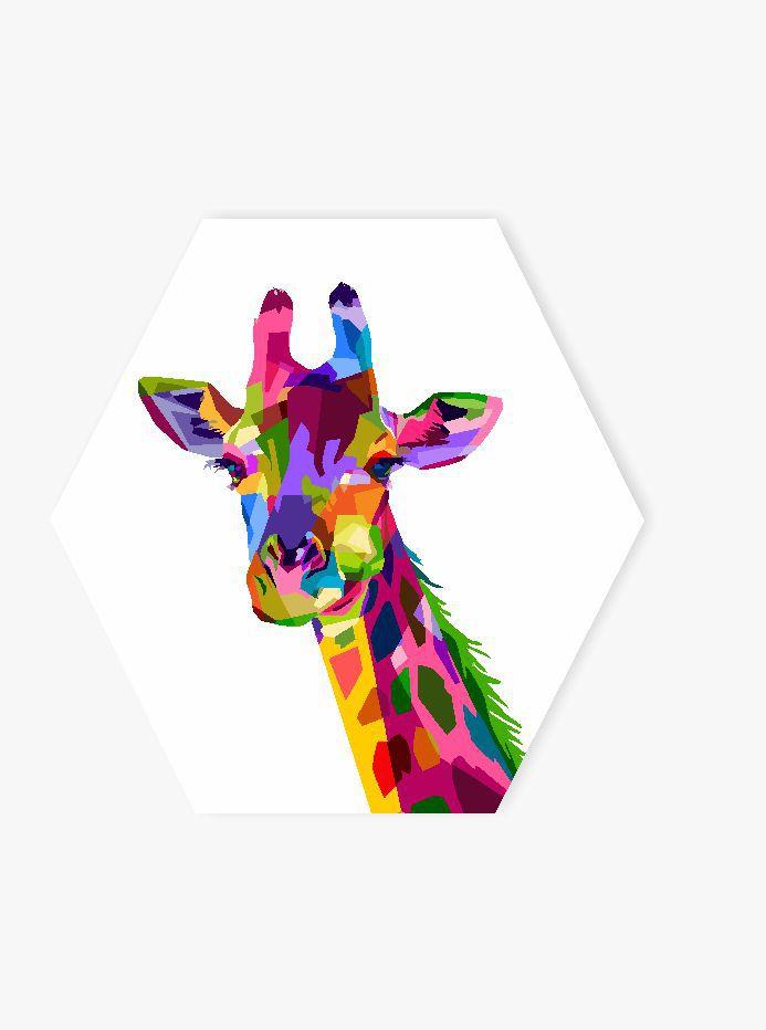 Quadro Hexagonal Girafa Geometrica
