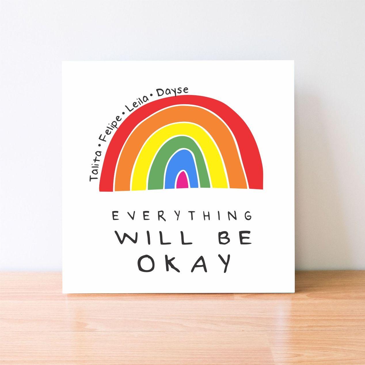 Quadro Personalizado - Arco-íris - Tudo vai ficar bem