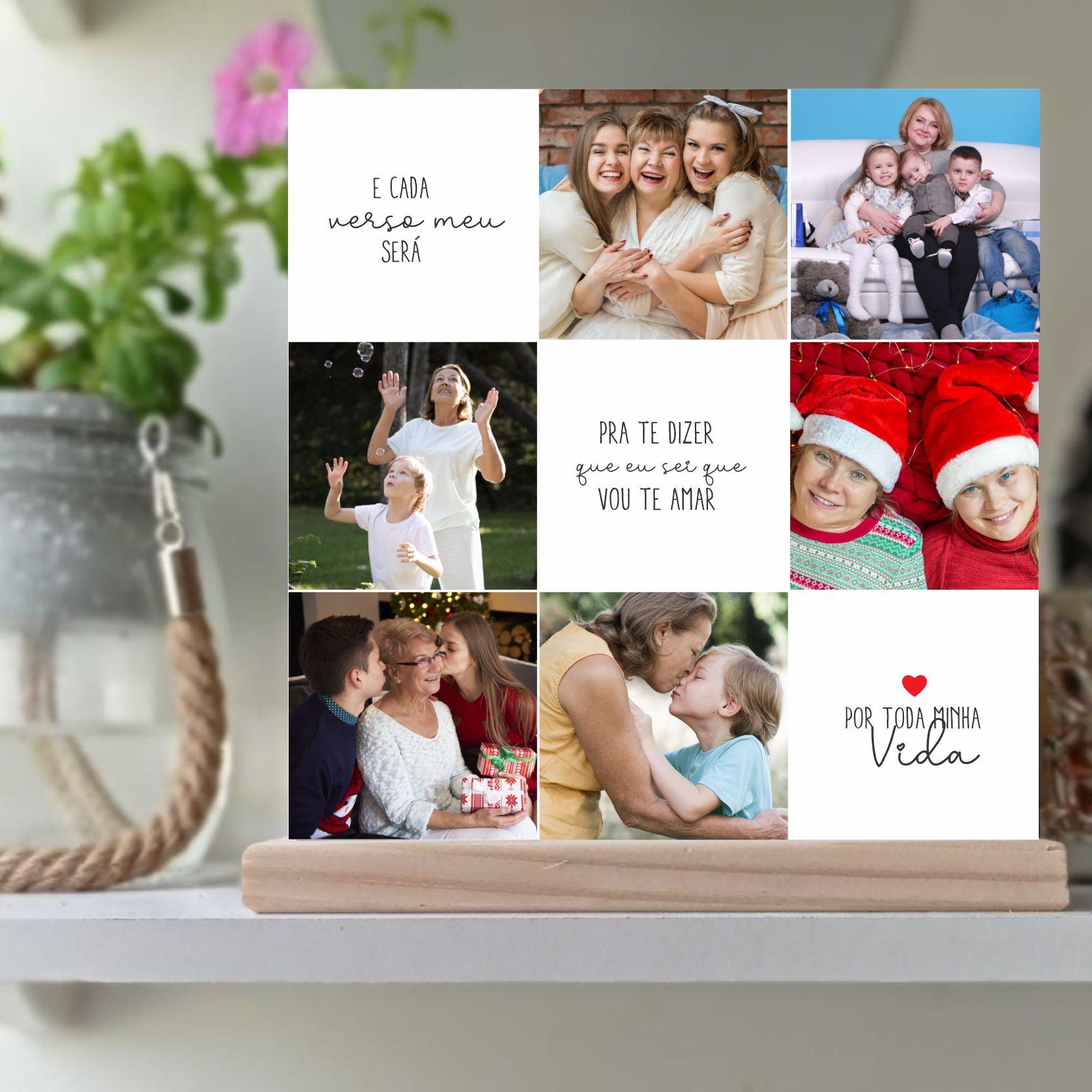 Quadro Personalizado Dia das mães  - com foto - Por toda minha Vida