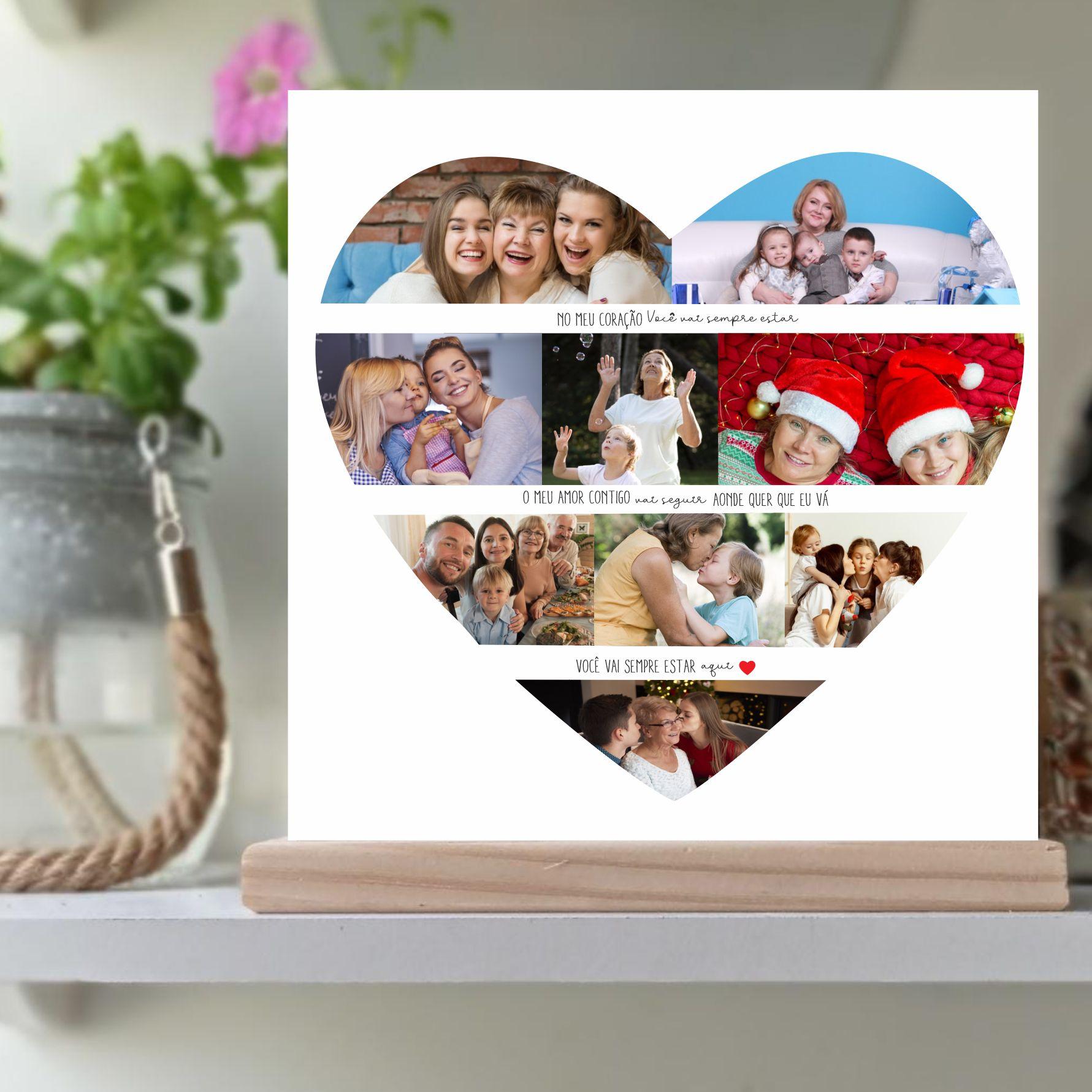 Quadro Personalizado Dia das mães  - coração com foto - aonde quer que eu vá