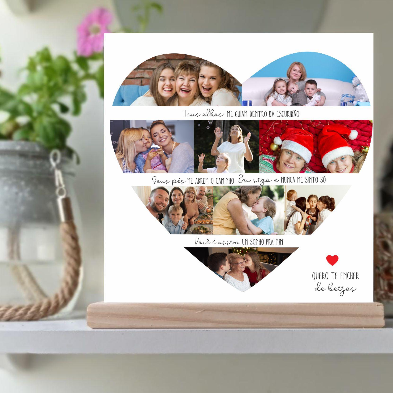 Quadro Personalizado Dia das mães  -  coracao  com foto - Quero te encher de beijos