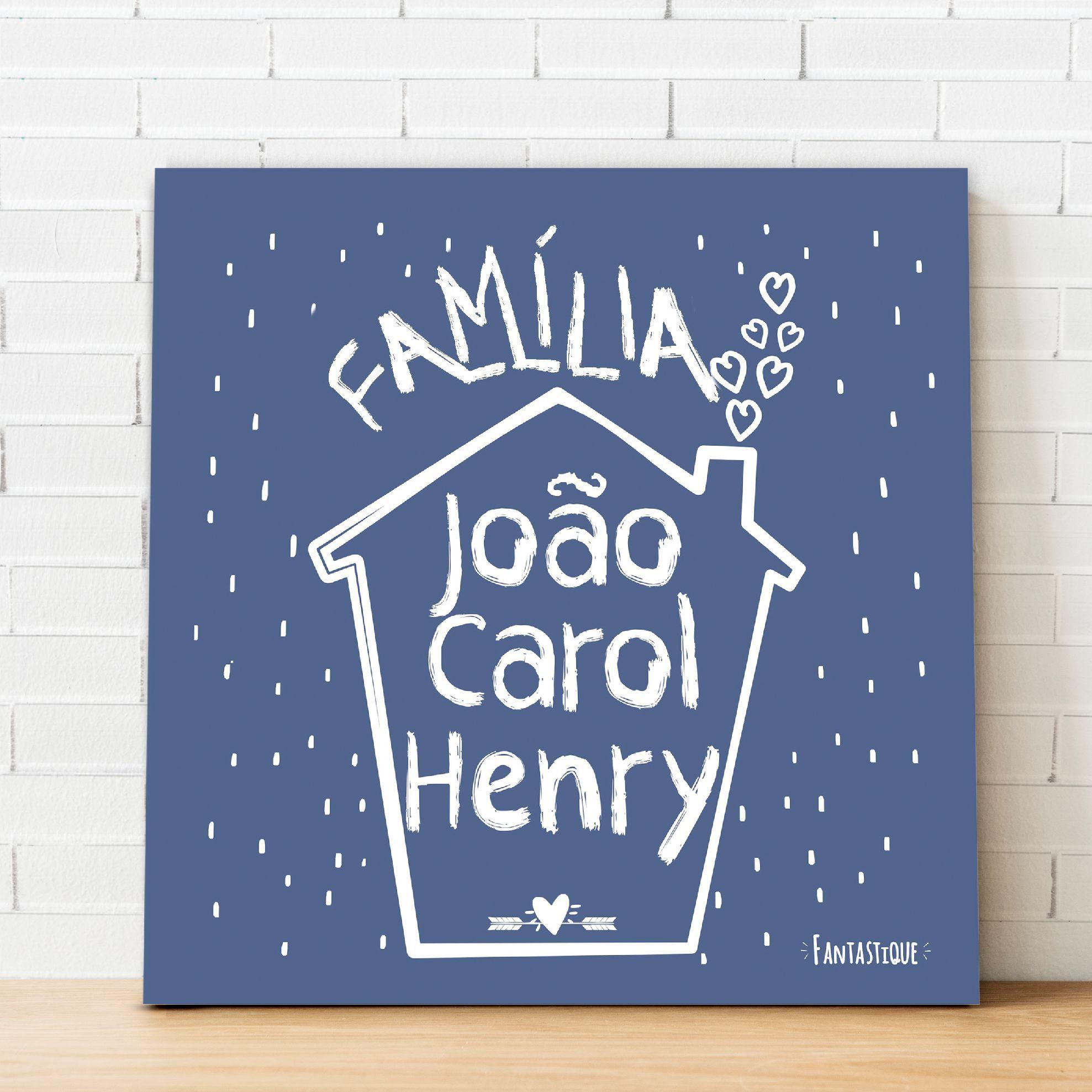 Quadro Personalizado Frase Família - Casinha Família