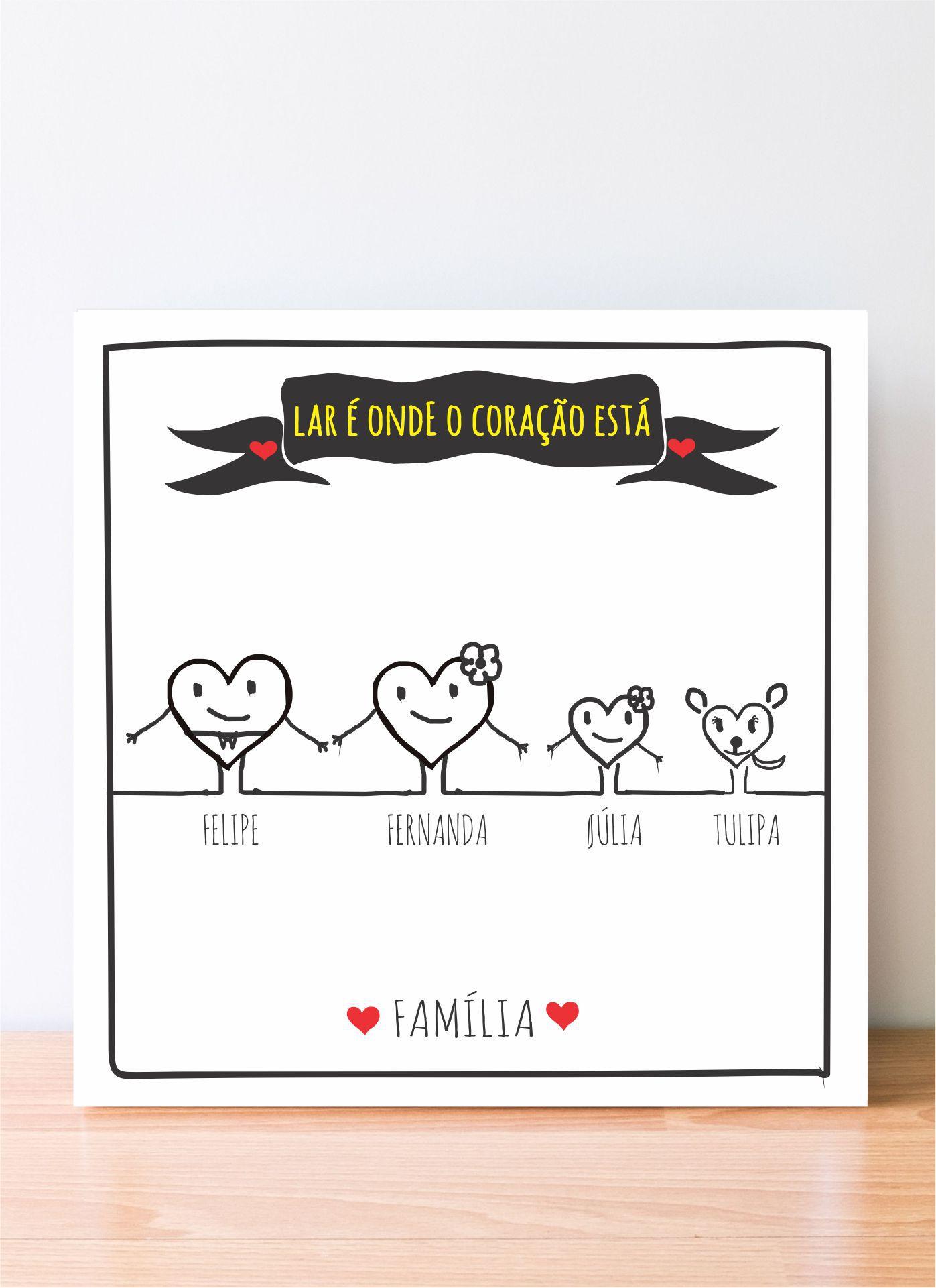 Quadro Personalizado Familia - Coração