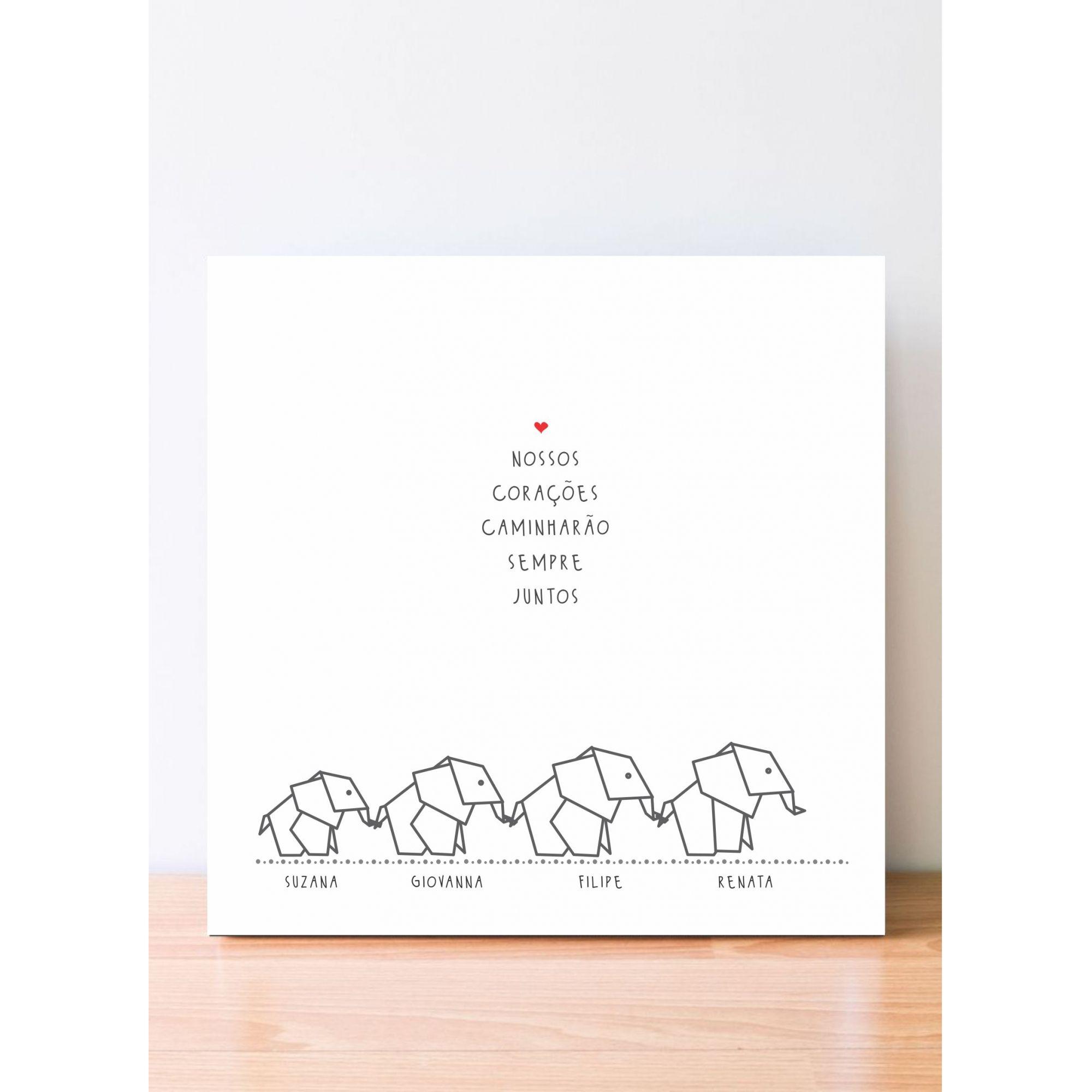 Quadro Personalizado Familia - Elefantes - Nossos corações caminharão sempre juntos