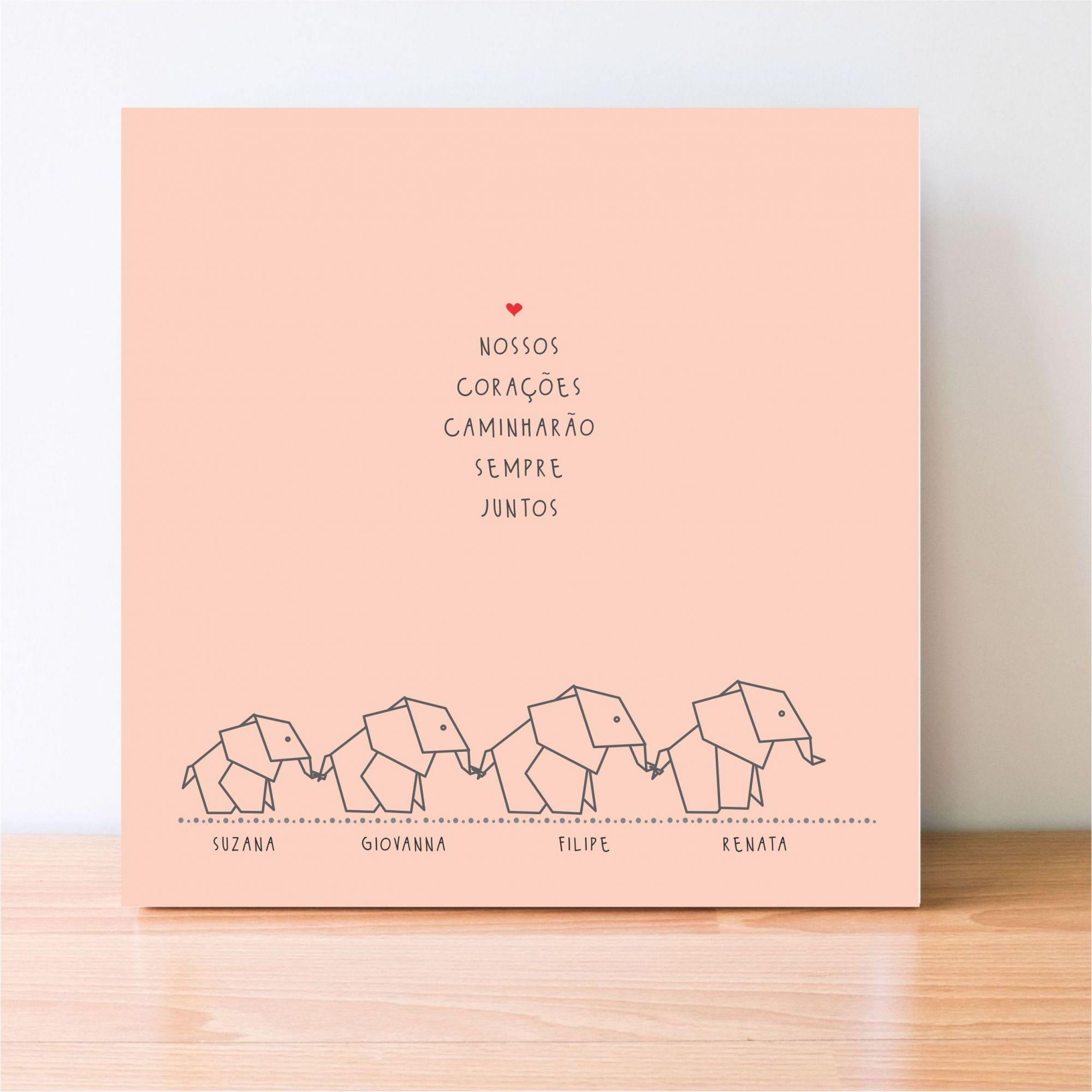 Quadro Personalizado Frase Família - Elefantes - Nossos corações caminharão sempre juntos