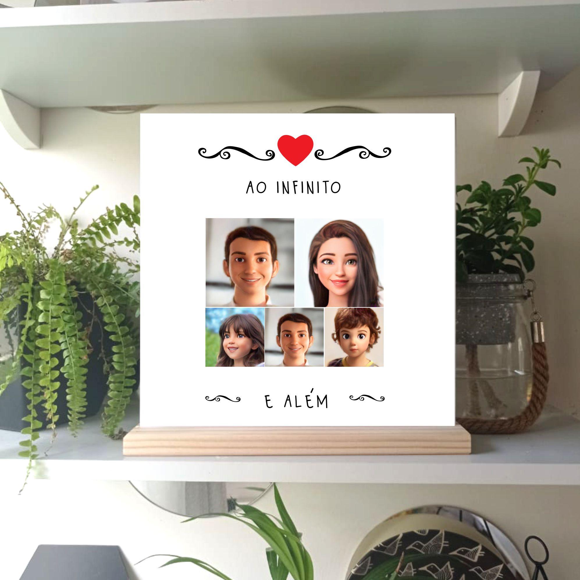 Quadro personalizado família felizes para sempre caricatura
