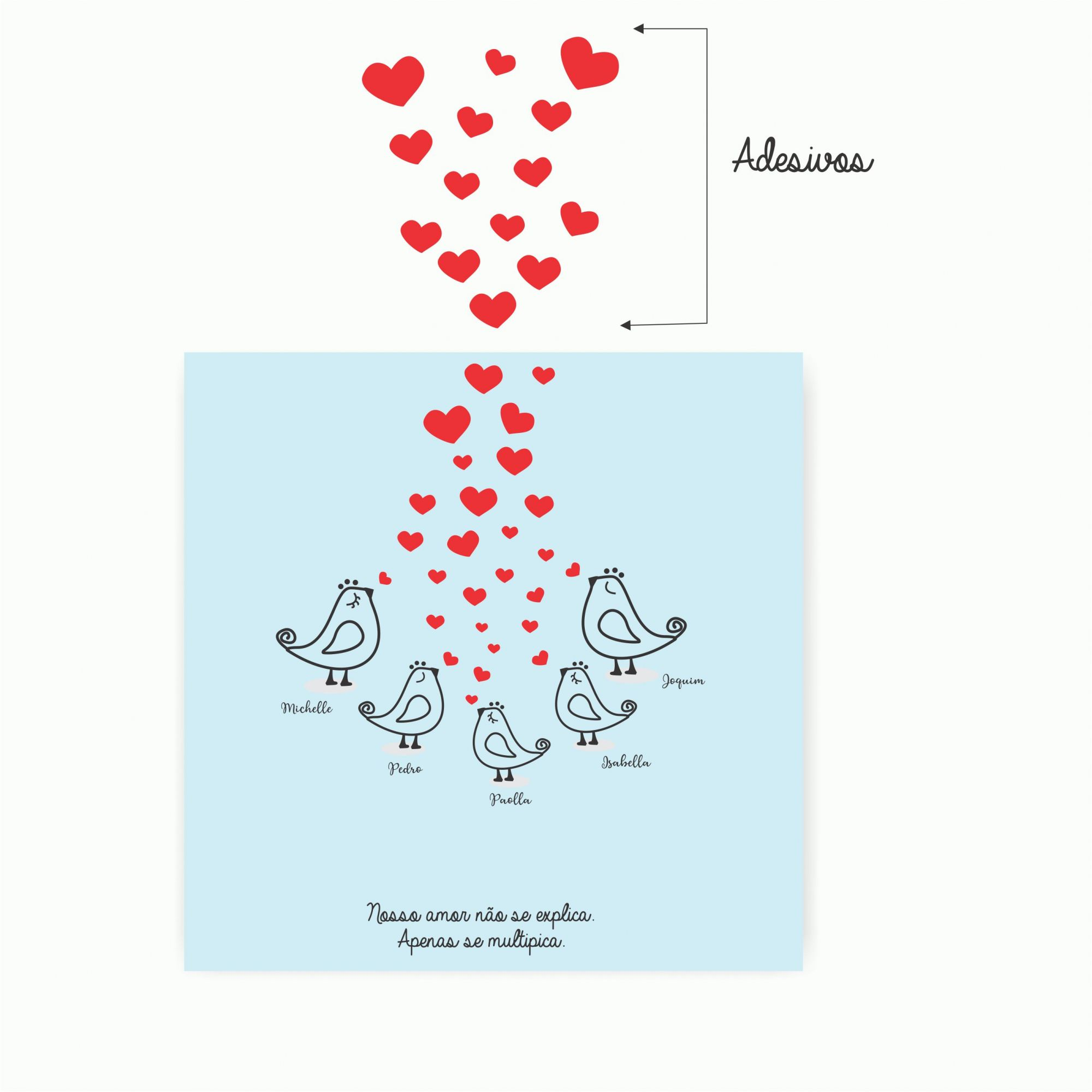 Quadro Personalizado Familia - Passarinhos e Corações  com Adesivos!