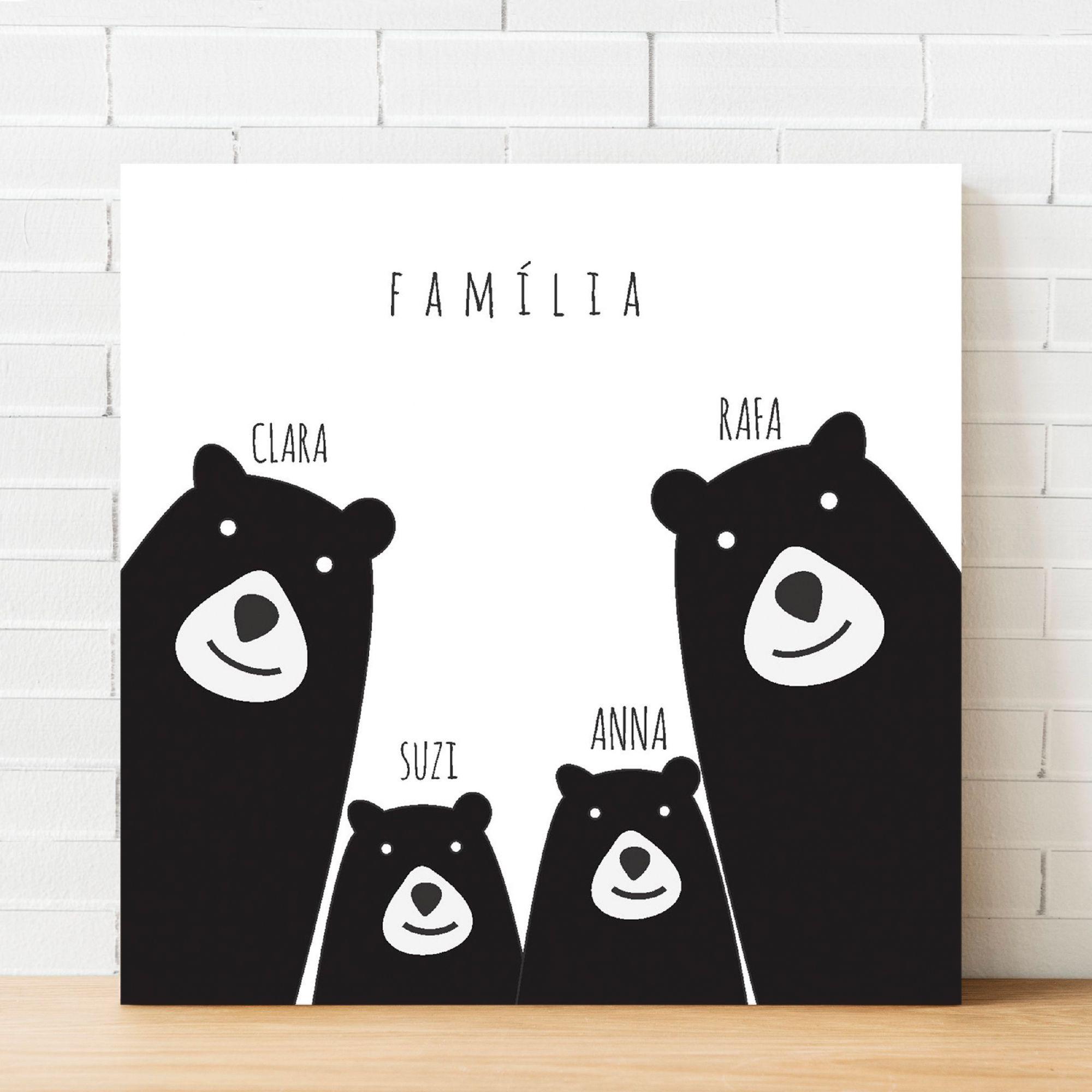 Quadro Personalizado Família Ursos