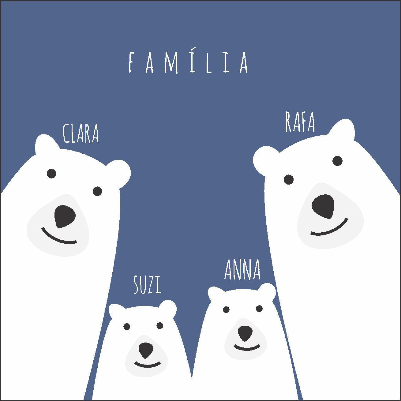 Quadro Personalizado Frase Família Ursos