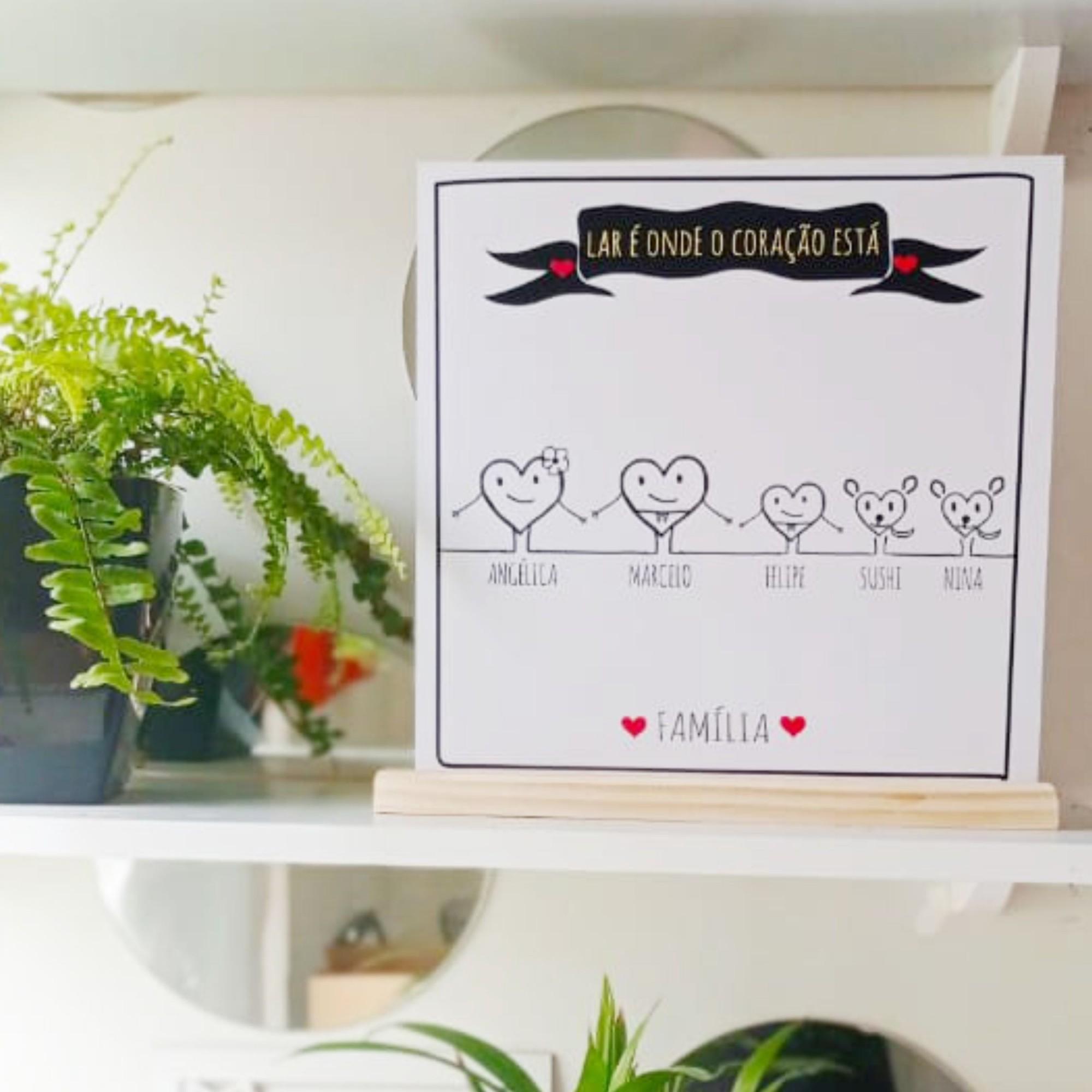 Quadro Personalizado Frase Família - Coração