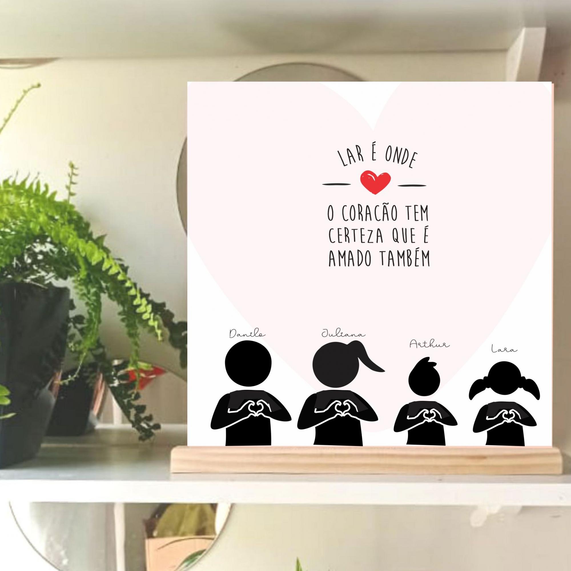 Quadro Personalizado - frase familia - Coração amado - bonequinhos