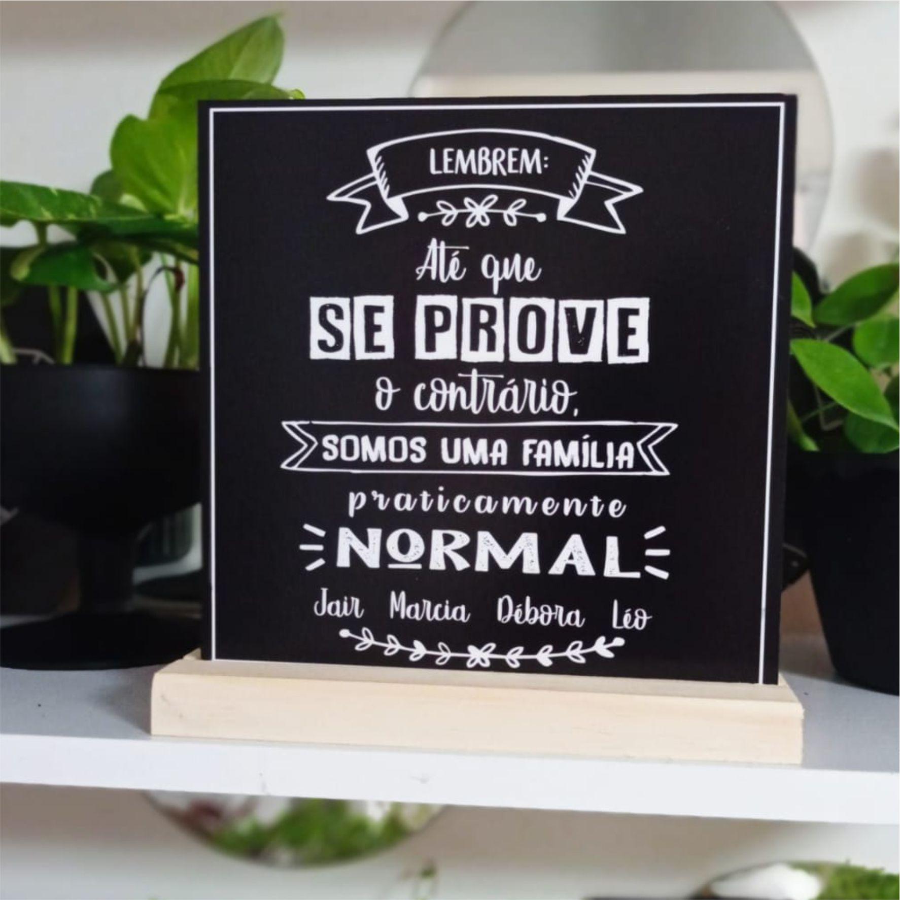 Quadro Personalizado Frase Família - Família normal