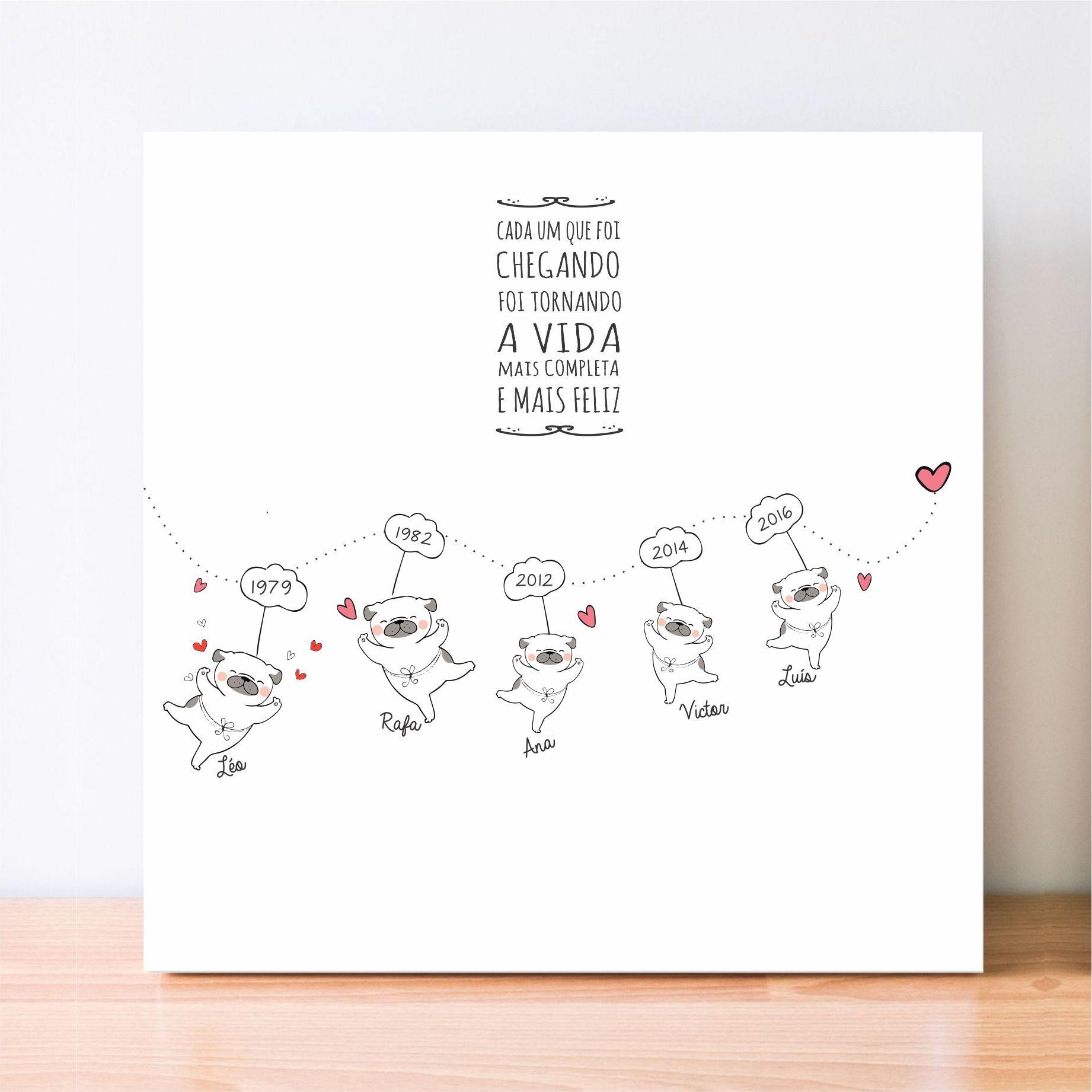 Quadro Personalizado Frase Família - Linha do Tempo -  CACHORROS