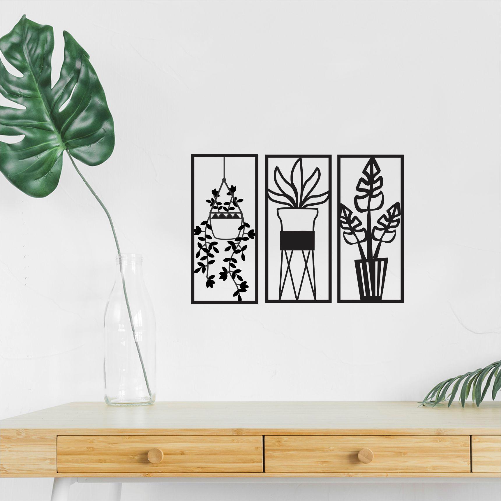 Trio de Quadros Decorativo em Recorte - plantas