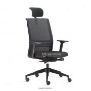 Cadeira Agile Presidente com apoio de cabeça encosto em tela Braços Reguláveis e Base Piramidal com mecanismo de ajuste em slide