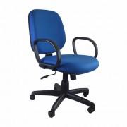 Cadeira Diretor Giratória encosto fixo com braços e mecanismo relax rodizios em nylon preto